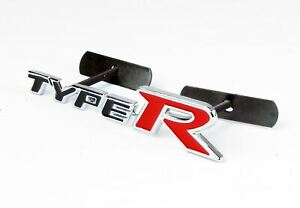 "5.9""*1.2"" Aluminum Black Red Type R Emblem Badge For Honda Front Air Dam Grill"
