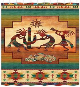 Southwestern Shower Curtain, Southwest Native American Kokopelli Ethnic Pattern