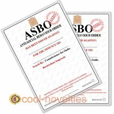 NOVELTY JOKE ASBO BLANK A4 - MAKE YOUR OWN ** PACK OF 2 **