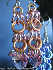 Copper and Aluminum Dangle Earrings with Swarovski Elements