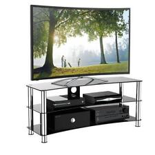 Large Upto 70 Inch TV Stand Unit Curved Tempered Black Glass / Led Lcd Cabinet