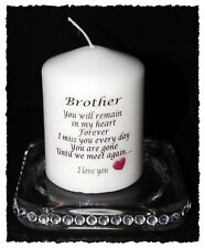 "Brother  memorial candle Until we meet again poem 3"" pillar candle"