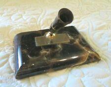 Vintage Shaeffer'c Pen Holder Desk Set Brown Agate Marble