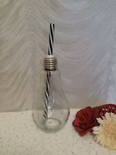 BULB DRINKING GLASS BOTTLE WITH STRAW - NEW WITHOUT TAGS