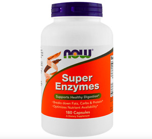 NOW FOODS SUPER ENZYMES 180 TABLETS - HEALTHY DIGESTION - BREAKS DOWN FAT