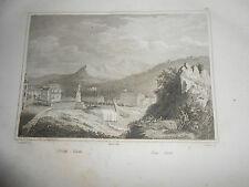 1837 AUDOT INCISIONE VEDUTA DEL PORTO DI NIZZA IN FRANCIA FRANCE NICE