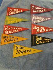 Lot of 9 Mini MLB Felt Pennants-Senators, Cardinals Redlegs, Giants, etc