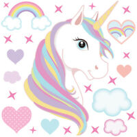 Magical Unicorn Horse & Rainbow Stars Childrens Wall Stickers Rainbow Unic04