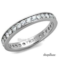 Women's Round Cut Stainless Steel AAA CZ Eternity Wedding Ring Band Size 5-12