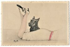 SCOTTY DOG guards beautiful female legs vintage c1930 pc signed M. JACOBS