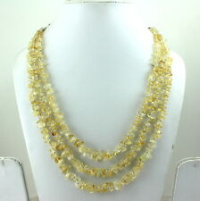 NECKLACE NATURAL CITRINE CHIPS GEMSTONE BEADED HANDMADE 66 GRAMS