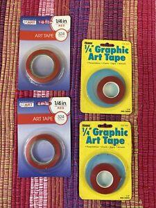 "Lot of 4 Creative Start (2) & Headline (2) Red Art Tape 1/4"" x 324"""