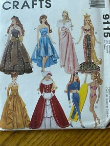 Vtg Barbie 11.5 Fashion Doll Clothes Pattern McCalls Dress Gown Coat OOP 9115