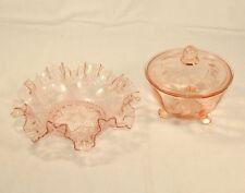 Art Deco rosé rosalin Glas Deckeldose & Schale Serviettenrand erhaben gepresst