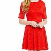 Copper Key Women's Vibrant Red Lace Fit and Flare Dress Medium