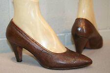 7 B Brown Reptile Vtg 60s ClassSaks Fifth Avene Pointed Toe Wedge High Heel Shoe