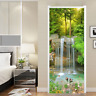 3D Forest Stream Waterfall Self-Adhesive Bedroom Door Mural Sticker Home Decal