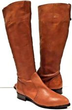 Nine West Womens Brown Size 7 M Nicholah Supple Leather Full Zip Riding Boots
