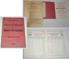 Tubes laminoir witkowitz prix-liste et tableaux 1904