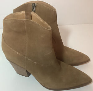 Lucky Brand LP-Ellamy Camel Brown Western Style Suede Leather Ankle Boots Size 8