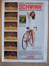 "SCHWINN BICYCLE AD ORIGINAL 1977  8X11"""