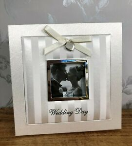 """Wedding Day Ivory & Silver Fabric Square Photo Frame Gift  3x3"""" Photo FF100"""