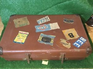 Vintage Expanding Leather Suitcase With Travel Stickers