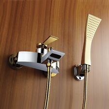 Wall Mounted Bath Filler Tub Faucet With ABS Handheld Shower Chrome/Gold Finish
