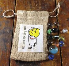 Esso Boy Logo Advertising Bag Glass Marbles Gas Station Free With Any Purchase