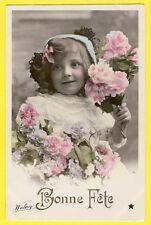 cpa Photo WALERY Jolie Jeune Fille FLEURS BONNE FÊTE en 1908 à Louis LACAZE ...