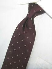 """Superb Borrrelli Dark Burgundy with White Squares Woven Silk Tie 60 X3.75"""" Italy"""