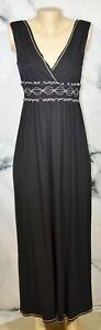 MAX STUDIO NEW NWT Black Ecru Trim Sleeveless Stretch Jersey Maxi Dress Small