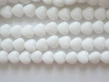50 Opaque White Czech Glass Heart Beads 6mm