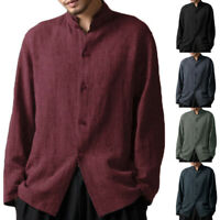Mens Casual Shirts Long Sleeve Botton Down Baggy Linen Chinese Vintage T Shirts