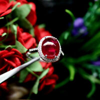 NATURAL 9 X 12 mm. OVAL RED RUBY WITH WHITE CZ RING 925 STERLING SILVER SZ 7.5