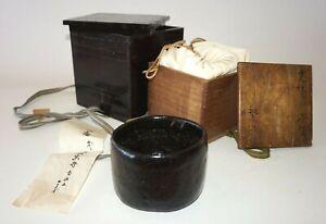 19C Japanese Raku Pottery Black Glaze Tea Bowl in Box manner of Koetsu (NiT)