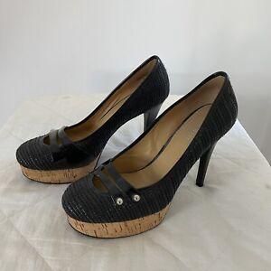 Nine West Woven Cork Platform Black Heels Size 8M TA2