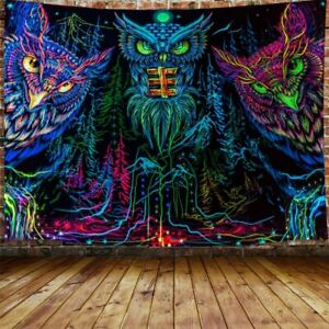 Psychedelic Owl Tapestry, Trippy Forest Line Art Tapestry Wall Hanging Bedroom