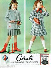 PUBLICITE ADVERTISING 115  1964  CARABI   BLOUSE CLUB tabliers enfants