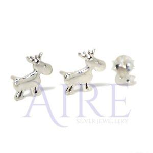 Genuine Sterling Silver Christmas Reindeer Stud Earrings