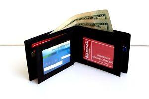 Black Deluxe Leather Men's Bifold Wallet ID Credit Card Zip 2 Center Flap