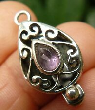 Sterling Silver Box Clasp with Faceted Amethyst Gemstone Single Strand