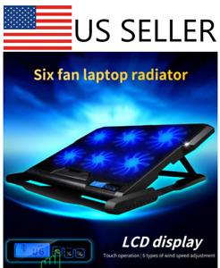 "6 Fan Laptop Cooler Cooling Pad w/ 2 USB Ports w/ LED Light Fits up to 18"" - Sli"