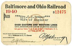 Baltimore & Ohio Railroad, 1940, #S12475, annual pass