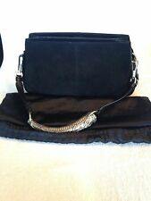 7dc13fb4e502 Authentic Yves Saint Laurent Black Suede   Leather Horn Handle Shoulder Bag
