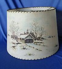Fiberglass Lamp Shade Mid Century Whip Stitch Large w Covered Bridge Vintage