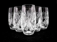 Set of 6 Russian Cut Crystal Highball Glasses 10 oz - Soviet USSR Water Soda