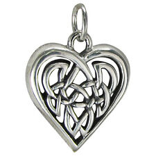 Sterling Silver Celtic Love Knot Heart Charm Pendant -  Irish Knotwork Jewelry