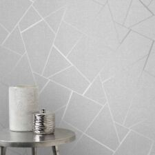 QUARTZ FRACTAL WALLPAPER METALLIC GLITTER FINE DECOR - FD42280 GREY / SILVER