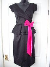 Forever Unique Black Satin Bow Dress UK 10